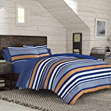 IZOD Anderson Stripe Comforter Set with Hypoallergenic, Machine Washable Ultra Soft, All- Season