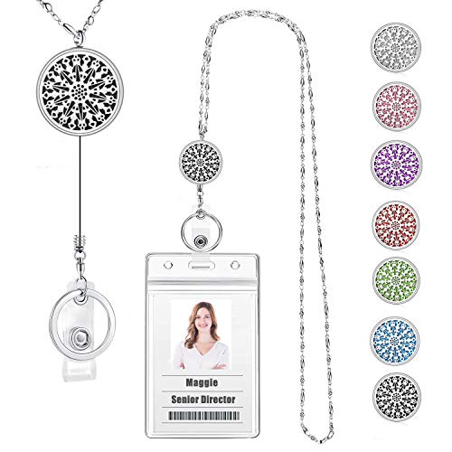 USANGERS Retractable Badge Reel Lanyard Necklace with ID Holder Strong Beaded Chain Essential Oils Diffuser Lanyard Stainless Steel Aromatherapy Non Breakaway Necklace Pendant for Her Women Nurse
