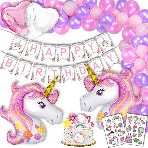 Einhorn Geburtstagsdeko Mädchen Kindergeburtstag Geburtstag Deko Party mit Happy Birthday Girlande, 2 Riesige Einhorner, Tattoos, 2 Herz Folienballons Rosa, 6 Tortenaufsätze, 30 Luftballons
