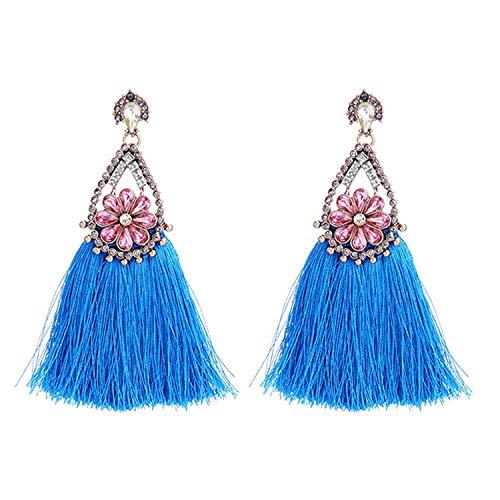 Katylen Earring Lange, Quasten-Mädchen-Ohrring-weibliche Art-antike Möbel, Parkett-Diamant-Ohr-Blaue Blumen.
