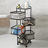 Rotating Multi-Layer Kitchen Shelf, Square Storage Rack with Wheels Floor-Standing Free Installation, Vegetable Rotating Rack, Rotating Shelf Loads up to 200 Pounds Suitable for Toilet, Study Room