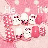 Cute Pink Cat Pattern 24 Sheet/Set Fake False Nail Tips 3D Glue Nuevo diseño para niñas Manicure Makeup Nail Stickers B35