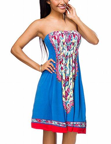 Yourdesignerz Blaues gesmoktes Sommerkleid mit Buntem Muster Paisley Muster Strandkleid Schulterfrei