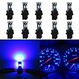 WLJH High Bright Blue Canbus T5 Dash Light Bulbs Car Instrument Cluster Panel Gauge Warning Indicator Led 73 74 286 2721 Bulb with PC74 Twist Lock Sockets,Pack of 10