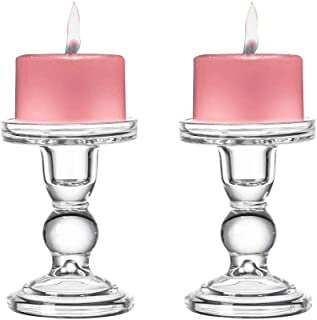 Sidith Clear Glass Pillar Candle Holder, Dual Use Taper Candle Stand for Pillar or Taper Candlesticks (2 Pack) (5.5
