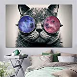 WSNDGWS Toile Animal Imprimé Peinture Moderne Drôle Un Chat avec Fumer Et Lunettes Photo Mur Art Affiche pour Salon Décoratif 20x30 cm