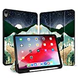 RicHyun iPad Air 4 10.9 inch Case with Pencil Holder, Smart Trifold Stand Shockproof Soft TPU Back Cover with Auto Sleep/Wake for iPad Air 4th Generation 2020 (Moon)