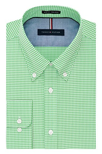 Tommy Hilfiger mens Slim Fit Non Iron Gingham Dress Shirt, Sea Grass, 17 Neck 34 -35 Sleeve X-Large US