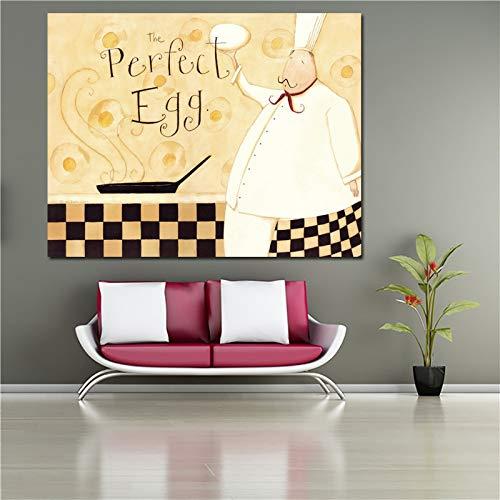 Flduod decoratief schilderen poster en print chef en soep canvas schilderij voor keuken restaurant wall art home decor60x75cm