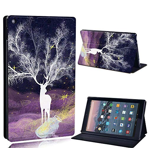 FINDING CASE For Amazon re HD 10 (5th 7th 9th Gen) Tablet - Printed PU Flip Leather Smart Lightweight Shell Stand Cover Case for re HD 10 (5th 7th 9th Gen) (fantasy single white deer)