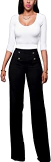 Women's Stretchy High Waisted Wide Leg Button-Down Pants Sailor Bell Flare Pants