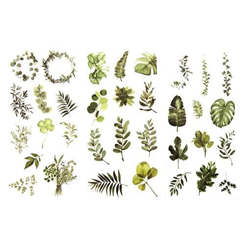 Oblique Unique® 34 Sticker Blumen Pflanzen Blätter Aufkleber Vintage Matt Küche Deko Dekoration Verzierung Scrapbooking Kinder Basteln