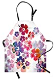 Lunarable Hawaiian Apron, Exotic Floral Island Theme Tropical Hawaii Flowers Pattern Print, Unisex Kitchen Bib with Adjustable Neck for Cooking Gardening, Adult Size, Pink Orange