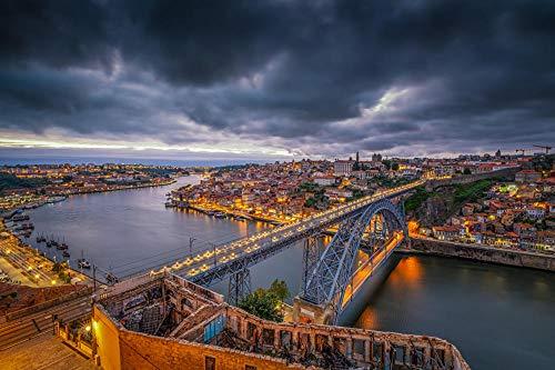 Oporto Portugal Puentes Ríos Noche Ciudades BuildingAdult Puzzle niños 1000 Piezas Juego de Rompecabezas de Madera Regalo decoración del hogar Recuerdo de Viaje Especial