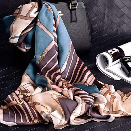 Bufanda de Seda de satén de Moda para Mujer 100% Seda Primavera, Verano, otoño e Invierno, Chal de Bufanda de Seda Salvaje, 65 * 175 cm,ALSQ-04