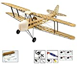 S09 RC Balsa Wood EP & GP 1.4M De Havilland DH82a Tiger Moth Biplane by DW Hobby Balsa Laser-Cutting Remote Control Aeroplane for Adults; RC Unassembled Flying Model for Fun; (S0904)
