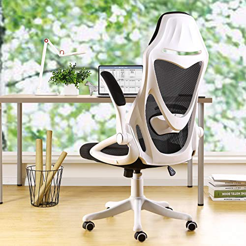 BERLMAN Ergonomic Mesh Office Chair Computer Chair with Flip-up Arms Adjustable Lumbar Support Desk Chair (White)