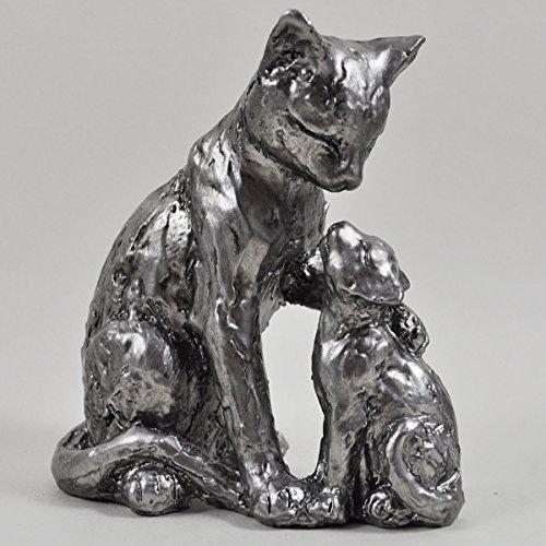 Gatto e gattino, statuetta ornamentale artigianale in argento anticato, realizzata a mano, ca. 13,5 cm