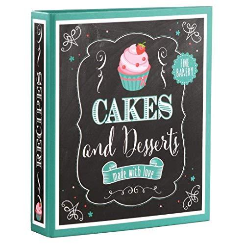 Goldbuch Rezeptebuch Cakes & Desserts, Ordner mit 2-Ring-Mechanik, Erweiterbar, Laminierter Kunstdruck, 25 bedruckte Blätter, 21 x 22,5 cm