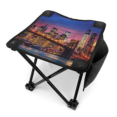 Nicokee Campingstuhl Klappstühle New York NYC auf Manhattan East River Pink Blau Tragbarer Stuhl Sitz mit Tragetasche für Outdoor Angeln Sport Wandern Garten Picknick Strand BBQ