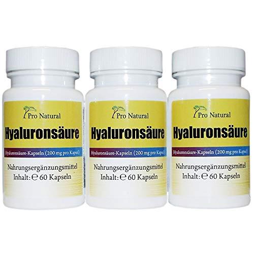 Hyaluronsäure Kapseln a 200mg - 3 Dosen 180 Vegane Kapseln hochdosiert, fermentiert - Gelenke, Haut, Anti Aging - Hyaluron Premium Qualität