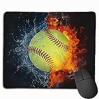 野球 ファイヤーマウスパッド ゲームデスクマット ステッチエッジ 滑り止めゴムベース コンピューター ノートパソコン オフィス 防水マウスパッド