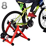 Indoor Cycle Trainer, Noise Reduction Super Quiet Bicycle Exercise Stand w Quick Release 8 Levels Resistance w Front Wheel Block