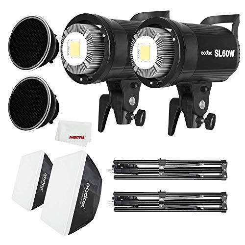 Godox SL-60W LED - Illuminatore a LED per video e Softbox 60 x 60 cm, stativo per luce, griglia a nido d'ape adatto per film, fotografia in studio , 2 pezzi