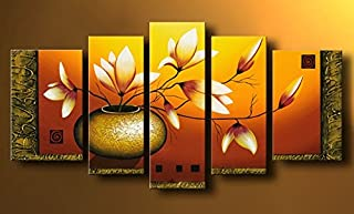 Wieco Art Extra Large Golden Bottle Elegant Flowers Modern 5 Panels 100% Hand Painted Abstract Floral Oil Paintings on Stretched and Framed Canvas Wall Art Ready to Hang for Home Decor