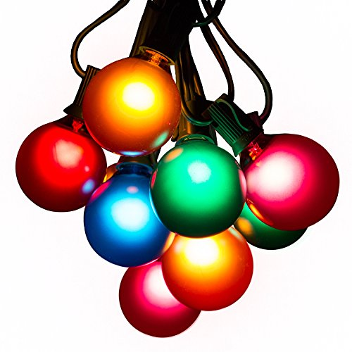 Assorted Satin Pearl Outdoor Patio Globe String Lights (100 Foot, G50 Assorted 2 Inch Bulbs - Green Wire)