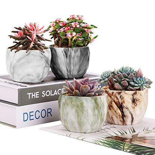 Wisolt 4 pcs Macetas de Cerámica para Flores y Plantas suculentas con Orificio de Drenaje, macetas pequeñas para bonsái de contenedor de Cactus para decoración de Oficina en casa, 3,54 Pulgada