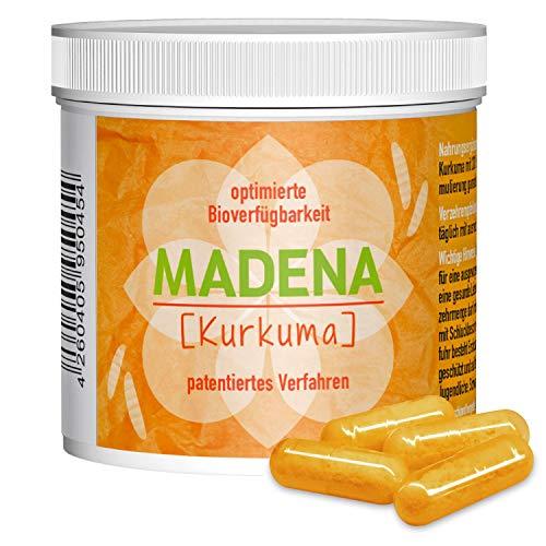 MADENA Kurkuma – hochdosiertes Curcumin   optimierte Bioverfügbarkeit   patentiertes Verfahren   bewusst OHNE Piperin   OHNE Emulgatoren, PVP   vegan   in Deutschland hergestellt (120 Kapseln)