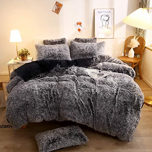 XeGe Plush Shaggy Duvet Cover Set Luxury Ultra Soft Crystal Velvet Bedding Sets 3 Pieces(1 Faux Fur Duvet Cover + 2 Faux Fur Pillow Cases),Zipper Closur (Queen, Black Ombre)