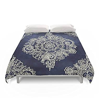 Society6 Cream Floral Moroccan Pattern On Deep Indigo Ink Duvet Covers Queen: 88  x 88