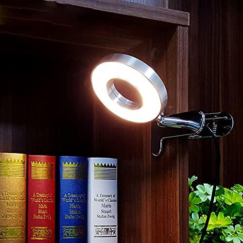 QEGY Lámpara de Escritorio LED con Pinza, Alimentación USB Lampara Lectura con Pinza 3 Modos de Luz y 10 Brillo Ajustable, Ajustable Lámpara para Libro para Lectores Noche, Estudio, Cama,Cromo