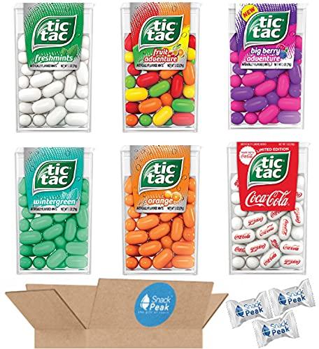 Tic Tac Variety Snack Peak Gift Box – Big Berry Adventure, Orange, Fruit Adventure, Freshmint, Wintergreen and Coca Cola