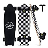 BELEEV Cruiser Skateboard 27x8 inch Completo Skateboard per Bambini, Giovani e Adulti, 7 Strati di Acero Canadese Double Kick Deck Concavo con all-in-One Skate T-Tool (Nero)