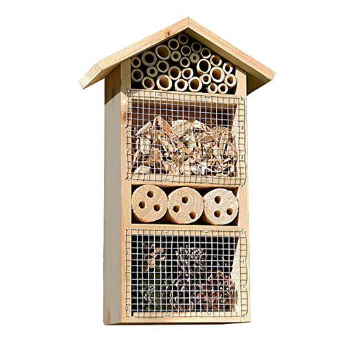 Luxus-Insektenhotels Design Nisthilfe f/ür Insekten mit Buche-Dach f/ür Wildbienen und Marienk/äfer