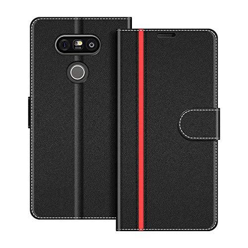 COODIO Handyhülle für LG G5 Handy Hülle, LG G5 Hülle Leder Handytasche für LG G5 Klapphülle Tasche, Schwarz/Rot