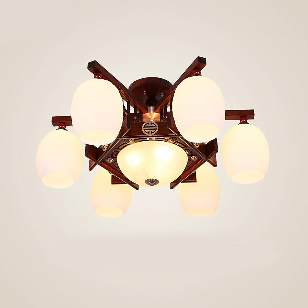 識別取得不完全なYSYYSH ファッションシンプルな中国スタイルの天井のランプクリエイティブソリッドウッド彫刻ガラスの天井ランプファッションホールリビングルームの照明天井ランプ、安全かつ簡単にきれいにします 寝室の装飾ライト