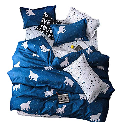 Sookie 3 Piece Duvet Cover Set with Zipper Closure,Navy Printed Pattern with White Pentacle and Bear,(Include Duvet Cover + Pillow Shams, Twin 68' x 90')