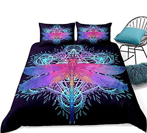 Juegos de cama Juego de cama con estampado de animales de 3 piezas con estampado 3D Juego de funda nórdica con libélula colorida Juego de ropa de cama boho Incluye funda de almohada Textiles para el h