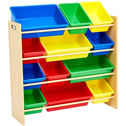AmazonBasics Kids Toy Storage Organizer Bins - Natural/Primary