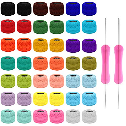 Kurtzy Gomitoli Cotone per Uncinetto Set (42 Filati x Uncinetto) - 2 Uncinetti Cotone Inclusi (1 mm e 2 mm) - Peso Gomitolo Cotone per Uncinetto (5 g) - Lunghezza Totale Filo per Uncinetto 1512 m