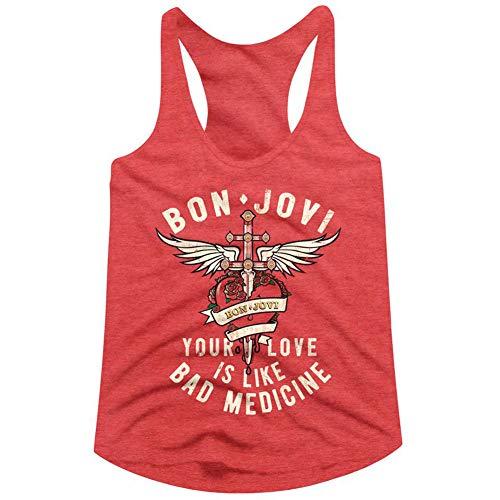 Bon Jovi 1983 playera sin mangas con espalda cruzada para mujer - Rojo - M