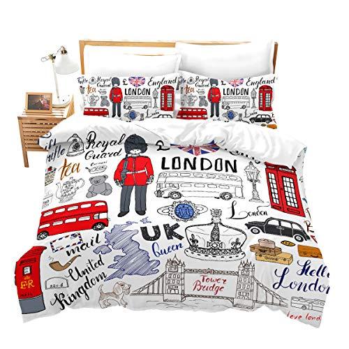Loussiesd Kinder Teen Betten Set London Telefonzelle Bettwäsche Set für Jungen Mädchen Doppeldecker-Bus Himmlische Qualität Bettbezug mit 1 Kissenbezug Einzelbett 2 teilig 135x200 cm + 80x80 cm