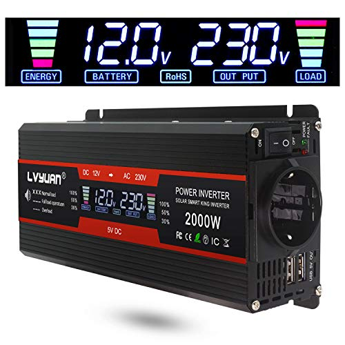 *LVYUAN Spannungswandler 12V 230V 1000W / 2000W Wechselrichter LCD mit 2 USB*