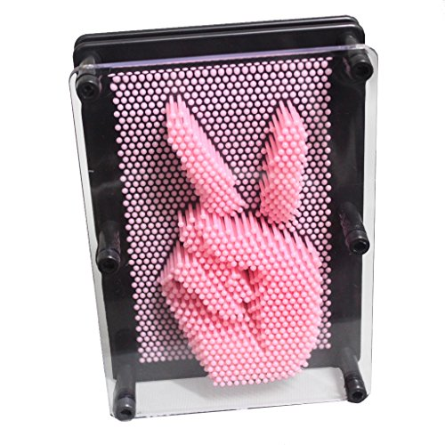 Geocero Classic 3-Dimensional Pin Art Board Toy for Sculptures - Pin Impression Toy - Pin Impression Hand Mold - Great Toy for Kids (Pink)