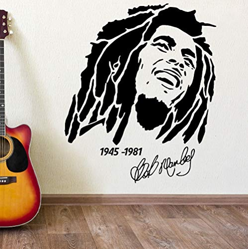 fancjj BOB Marley 1945-1981 Vinyle Autocollant d'art Mural Autocollant Amovible Home Decor Chambre Mur Pape 57X65CM