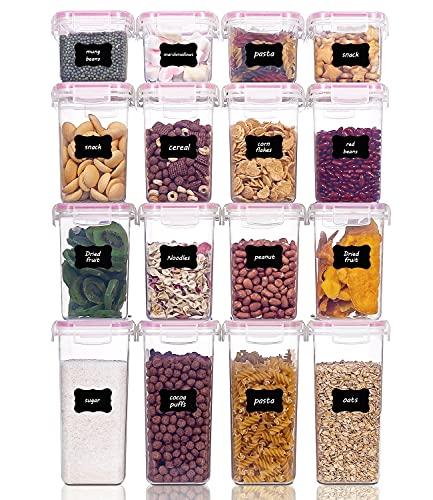 Vtopmart 16 Stück Vorratsdosen Set,Müsli Schüttdose & Frischhaltedosen, BPA frei Kunststoff Vorratsdosen luftdicht, 24 Etiketten für Getreide, Mehl, Zucker (Rosa)